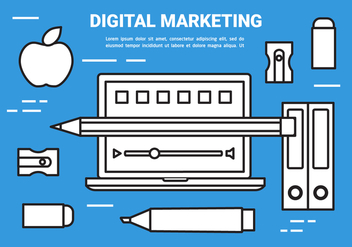 Free Flat Digital Marketing Concept Vector - Free vector #443093