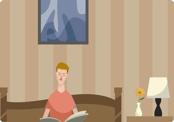 Man Reading a Book in Bed Vector - Free vector #443173