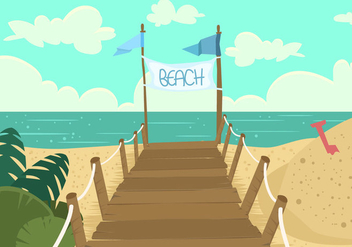 Boardwalk Beach View - Free vector #443213