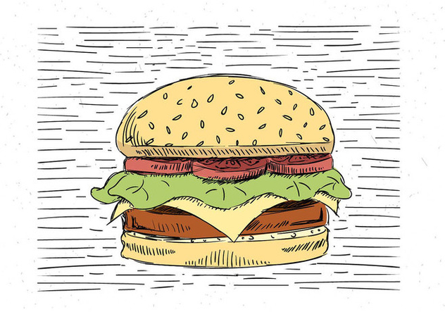 Dessinés à la main gratuit Vector Illustration Burger - vector gratuit #443223