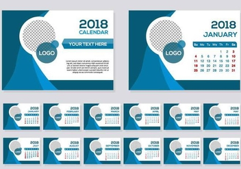 Free Blue 2018 Calendar Desk Vector - бесплатный vector #443263