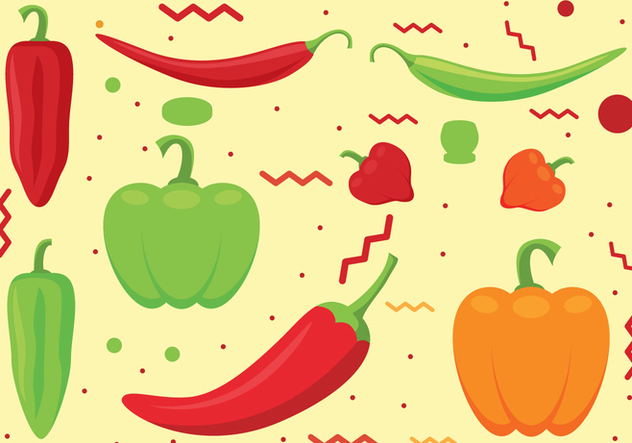 Chili Peppers Vector Set - Free vector #443293