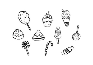 Free Sweet Food Hand Drawn Set Vector - Kostenloses vector #443313