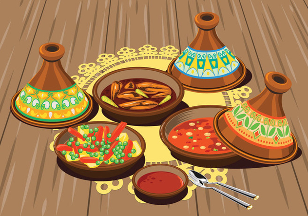Illustration of Sambal Chicken Tajine Served with Olives and Vegetable Tajine with Rice and Tomato Sauce - Free vector #443363