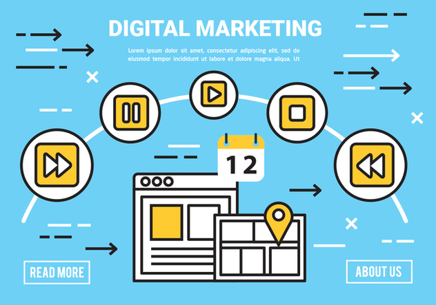 Free Flat Digital Marketing Concept Vector - vector gratuit #443403