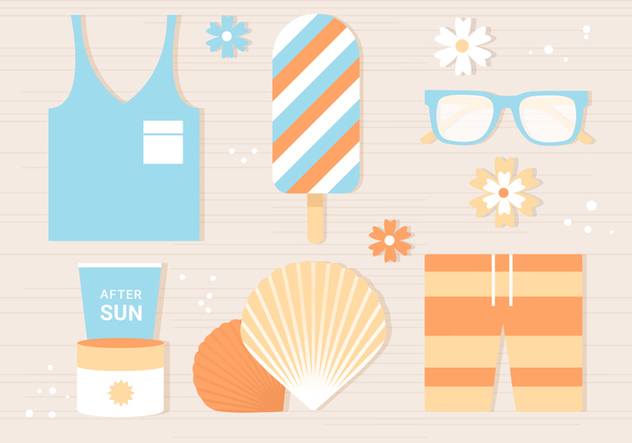 Free Flat Tropical Summer Background - Free vector #443413