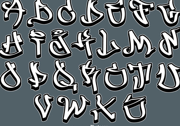 Vector Graffiti Alphabet Letters Stickers - vector gratuit #443483