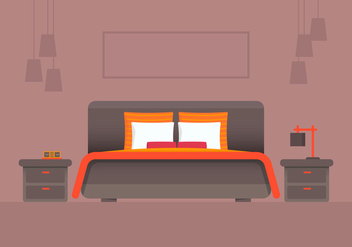 Orange Headboard Bedroom and Furniture Vector - vector #443523 gratis