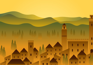 Tuscany House Fields Free Vector - бесплатный vector #443563