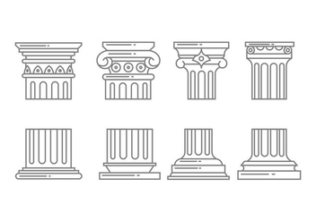 Roman column icons - vector gratuit #443583