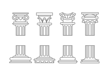 Roman column icons - vector gratuit #443593