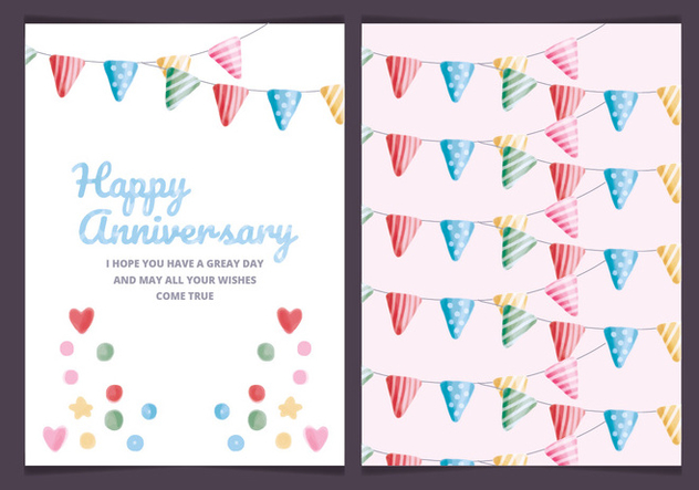 Vector Colourful Anniversary Card - Free vector #443633