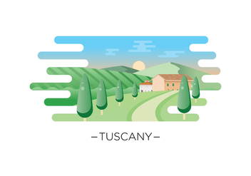 Free Tuscany Landscape Illustration - бесплатный vector #443673
