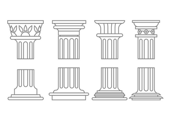 Roman column icons - vector gratuit #443923
