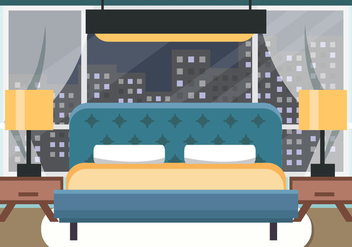 Decorative Bedroom at Night Vector - Free vector #443993
