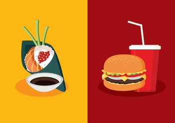 Temaki VS Fast Food Free Vector - Free vector #444013