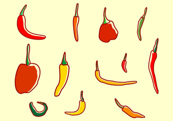 Set Of Chili Peppers - vector gratuit #444023