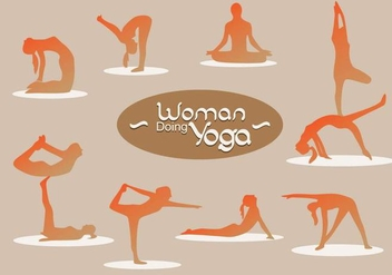 Woman Silhouette Doing Yoga - Free vector #444043