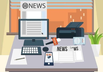Journalist Desk Vector - бесплатный vector #444113