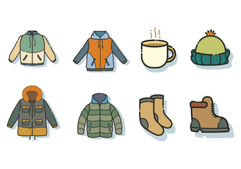 Free Windbreaker Jacket and Accessories Vector - Kostenloses vector #444123