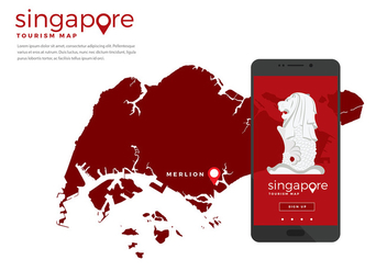 Singapore Tourism Map App Free Vector - vector gratuit #444163