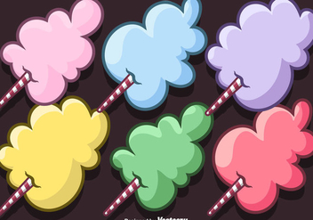 Vector Set Of Cartoon Candy Floss - Kostenloses vector #444173
