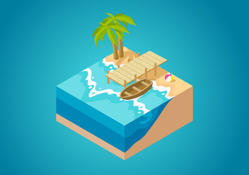 Boardwalk Isometric Free Vector - vector #444333 gratis