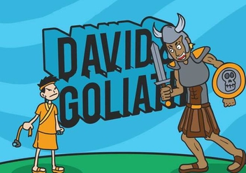 David and goliath vector illustration - бесплатный vector #444343