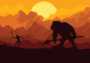 David and Goliath Vector Background - vector gratuit #444353