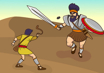 Vector Illustration Of David And Goliath - Kostenloses vector #444393