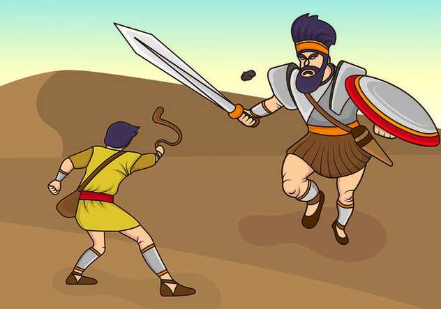 Vector Illustration Of David And Goliath - vector gratuit #444393