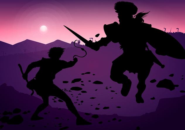 David And Goliath Silhouette Fight Free Vector - Free vector #444403