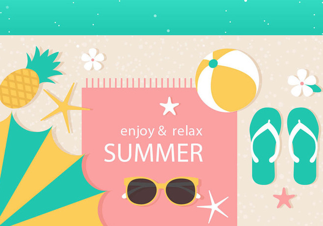 Free Vector Summer Time Illustration - Kostenloses vector #444483