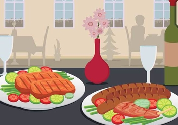 Charcuterie On Plate Served On Table Illustration - vector gratuit #444573