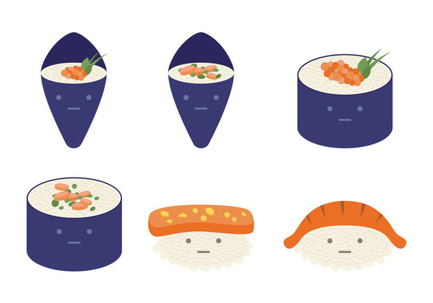 Cute Temaki Collection - бесплатный vector #444643