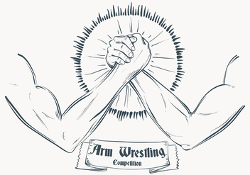 Sketched Arm Wrestling Illustration Template - Free vector #444733