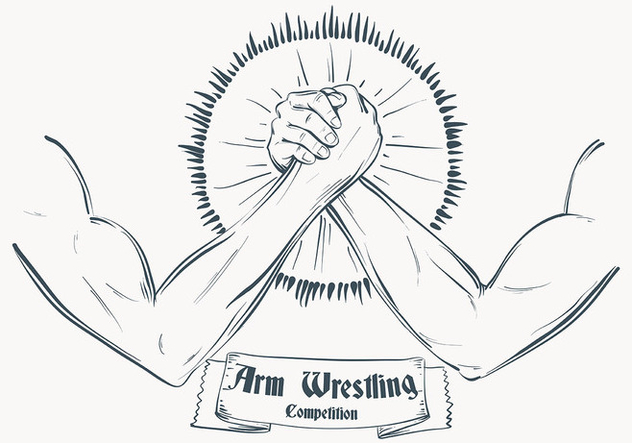 Sketched Arm Wrestling Illustration Template - vector #444733 gratis