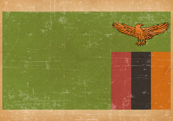 Old Grunge Flag of Zambia - vector gratuit #444793
