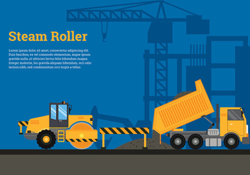 Steam Roller Road Build Free Vector - vector gratuit #444923
