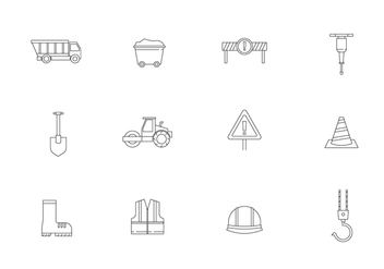 Outline Road Construction Icons - vector gratuit #445033