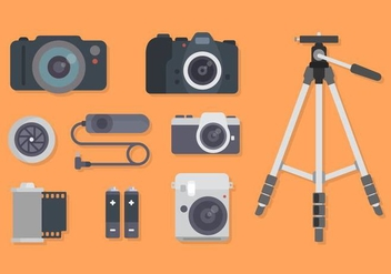Flat Camera Equipment Vectors - Free vector #445093