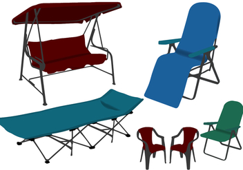 Different Lawn Chairs Vectors - vector gratuit #445173