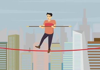 Tightrope Walker Over City Buildings Illustration - бесплатный vector #445193