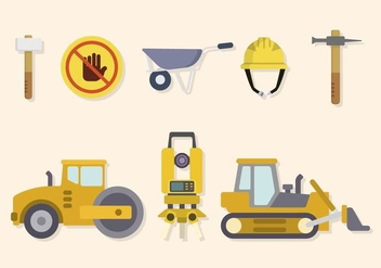 Flat Road Construction Vectors - vector gratuit #445223