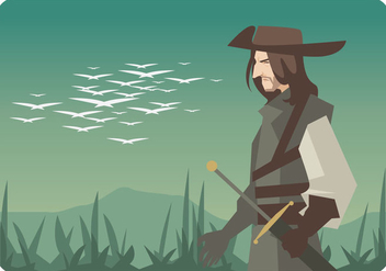Musketeer With Landscape Background Vector - Free vector #445263
