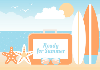 Free Summer Beach Elements Background - бесплатный vector #445303