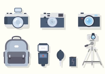 Flat Camera Equipment Vectors - vector gratuit #445333