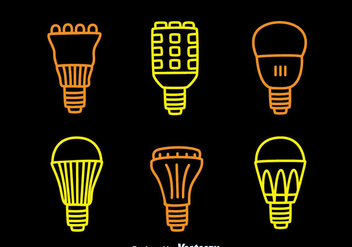 Led Lights Lamp Line Icons Collection Vector - vector #445343 gratis