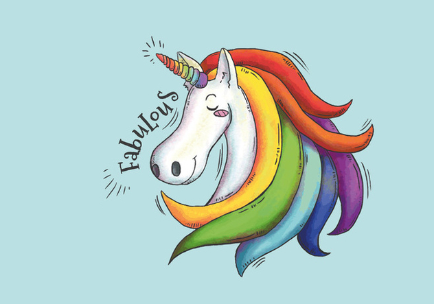 Cute Imagine Unicorn With Long And Colorful Hair - Free vector #445353