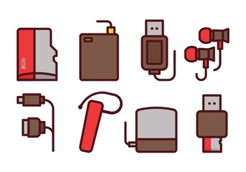 Phone Accessories Icon Set - Free vector #445423